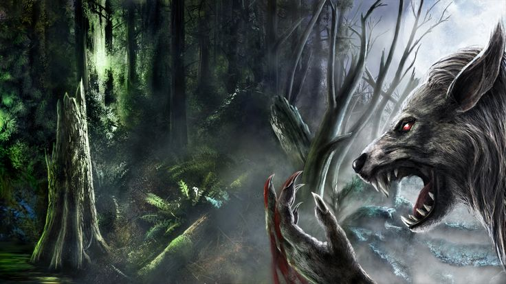 Werewolf Fantasy Art Dark Monster Creatures Blood Fangs Trees Forest Spooky Creepy Scary Evil Wallpaper
