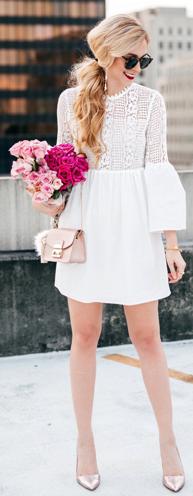 White Lace Dress / Metallic Pumps