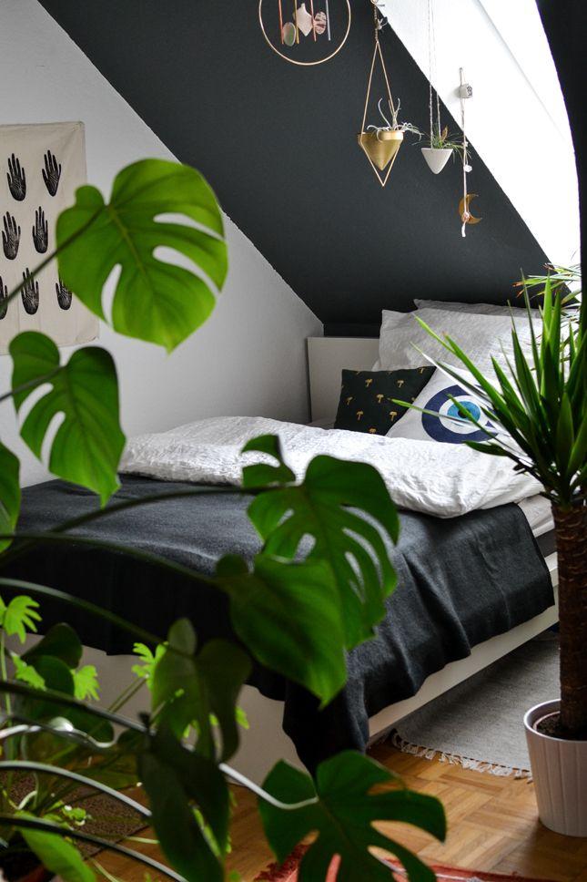 Une petite chambre cosy et végétalisée nichée sous les toits
