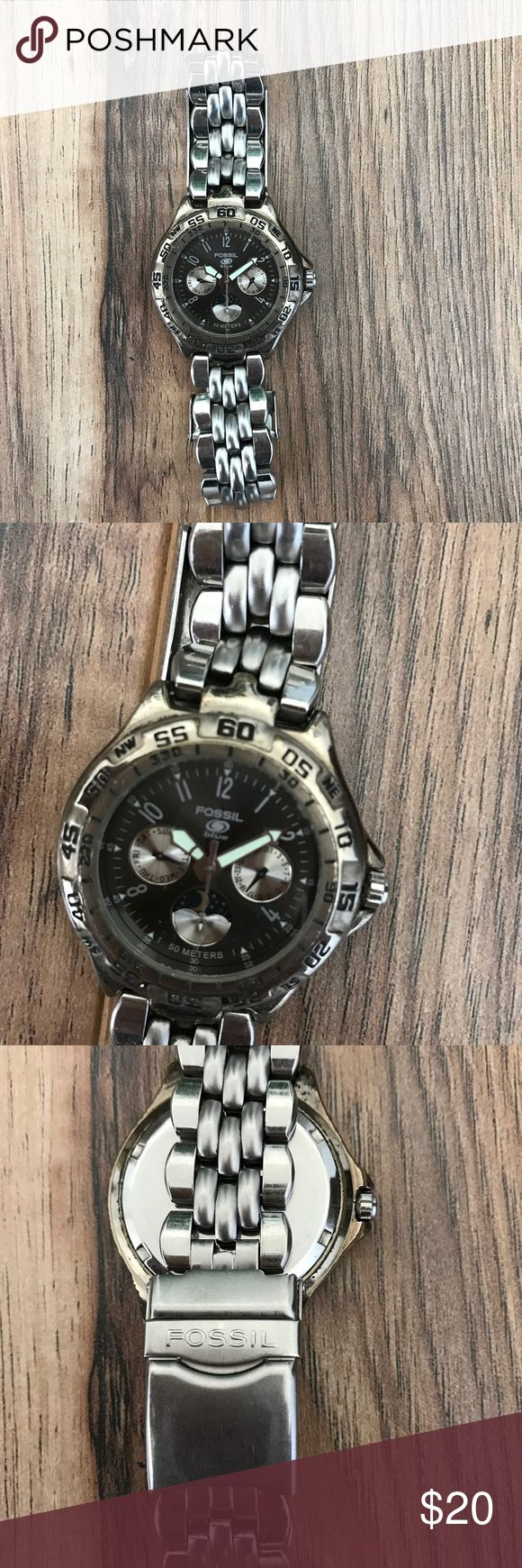 Men's Fossil Watch Men's Fossil watch with silver band and black face. Very good used condition. Needs battery. Fossil Accessories Watches