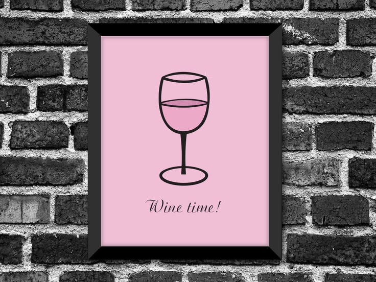 Modern Wine Glass Art Print / Great Gift for any Occasion / Kitchen Décor / Choice of color. $20.00, via Etsy.