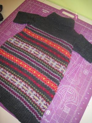 Tutorial for making a girl's sweater dress out of an adult's sweater!