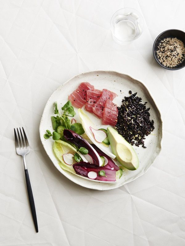 Fresh Tuna, Black Rice and Sesame Salad plate — The Design Files | Australia's most popular design blog.
