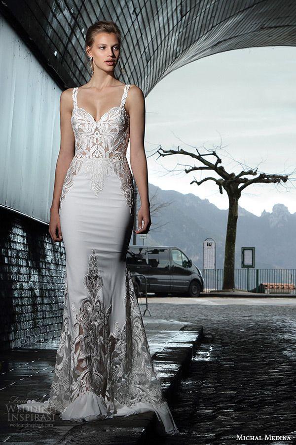 michal medina spring 2016 bridal strap filigree sweetheart neckline sheath wedding dress marian