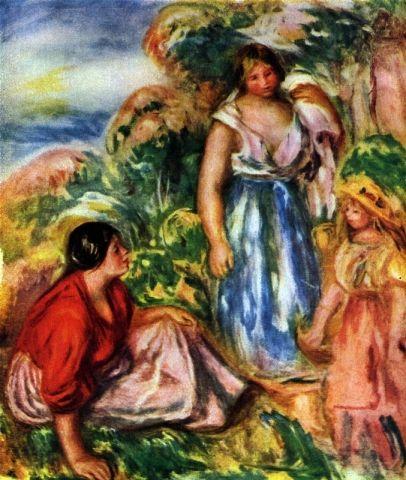 Paesaggio con due donne e due giovani ragazze