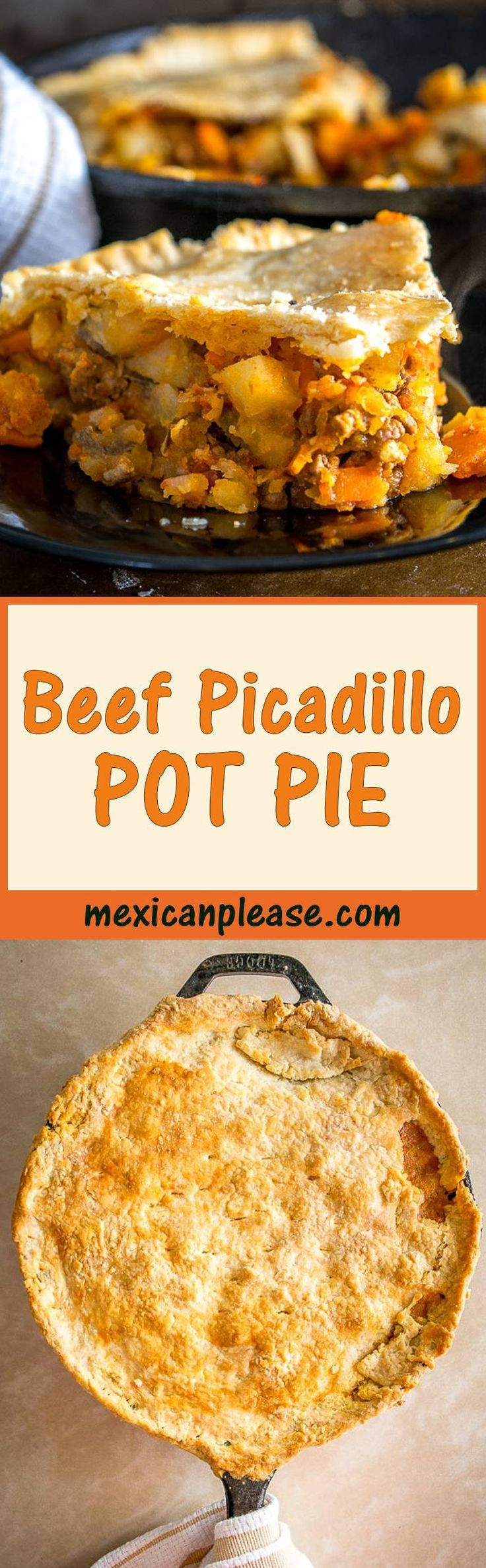 This skillet pot pie is a great way to serve up a batch of Mexican Picadillo.  The flaky pastry is a perfect match for the hearty beef and potatoes.   So good!  mexicanplease.com