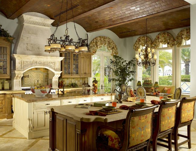 Dual Island French Country Kitchen With Barreled Brick
