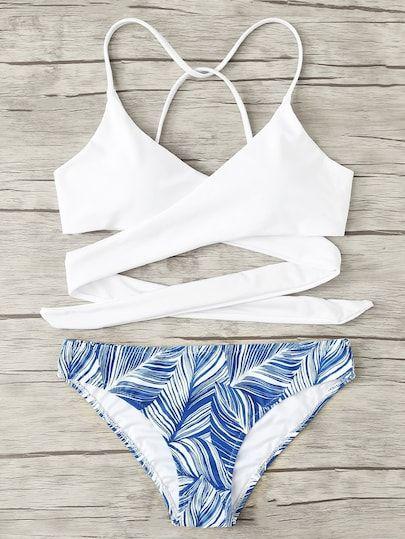 7d9f015bef Criss Cross Wrap Top With Leaf Print Bikini Set -SheIn(Sheinside ...