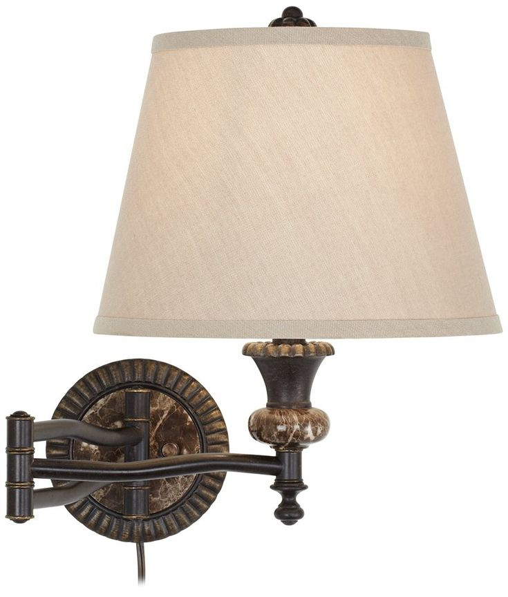 Bronze plug in swing arm wall lamp w faux marble backplate