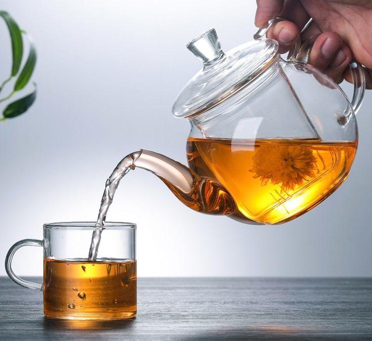 Pb155 กาน ำชา แก วใส ทนความร อน 600ml ชาผ เอ อ 普洱茶