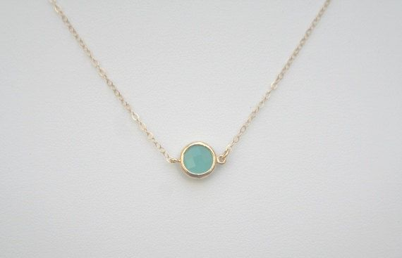 Aqua Necklace in Gold. Mint Necklace in Gold. by BellaJewelsInc. Gorgeous!