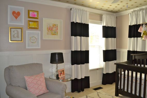 Black and White horizontal striped CURTAINS by BeautifullyLiving
