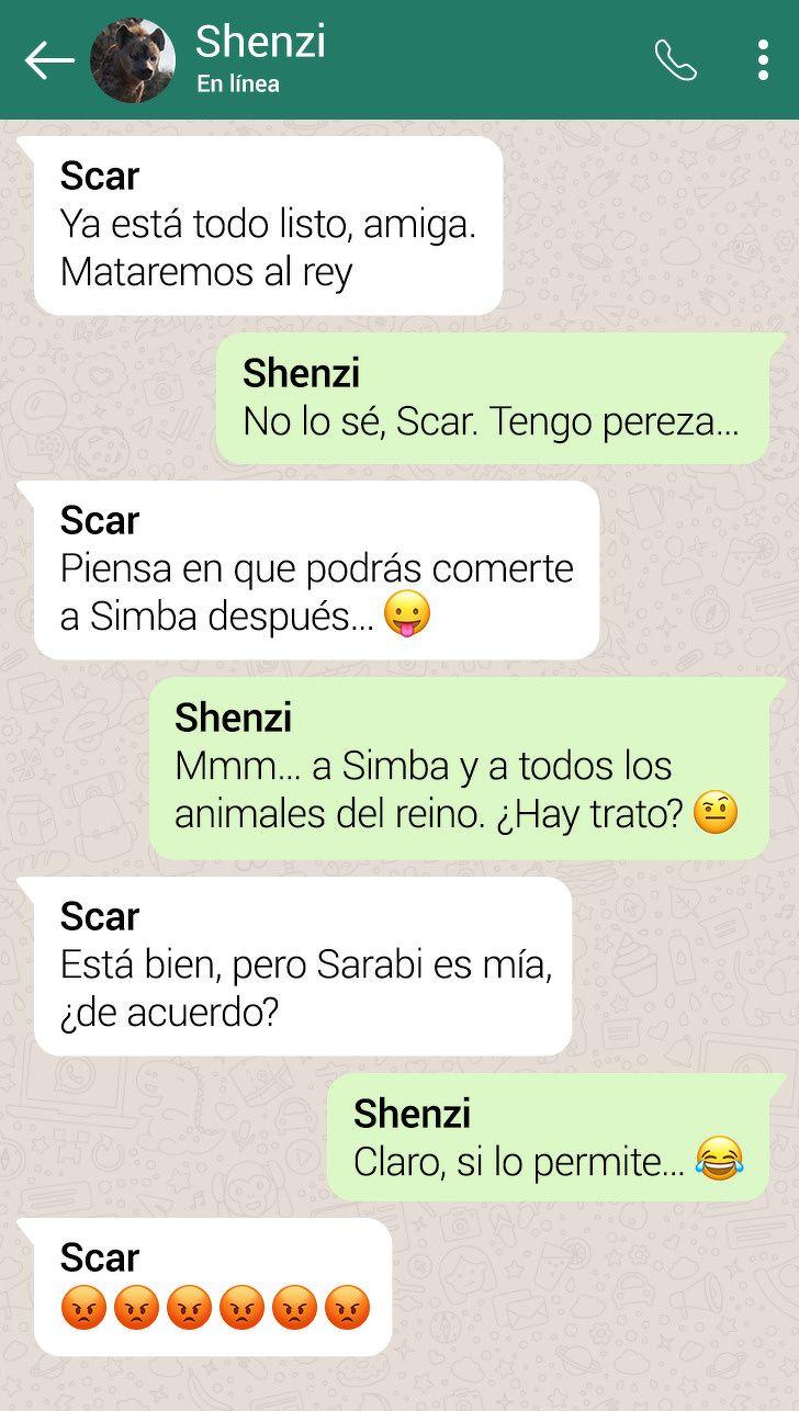 Asi Serian Las Conversaciones Entre Los Personajes De El Rey Leon Si Tuvieran Whatsapp Personajes De El Rey Leon Rey Leon El Rey Leon