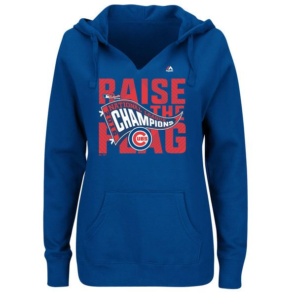 Chicago Cubs Majestic Women's 2016 National League Champions Plus Size Locker Room Pullover Hoodie - Royal - $37.99