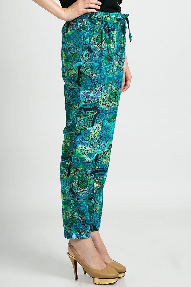 green and blue batik pants