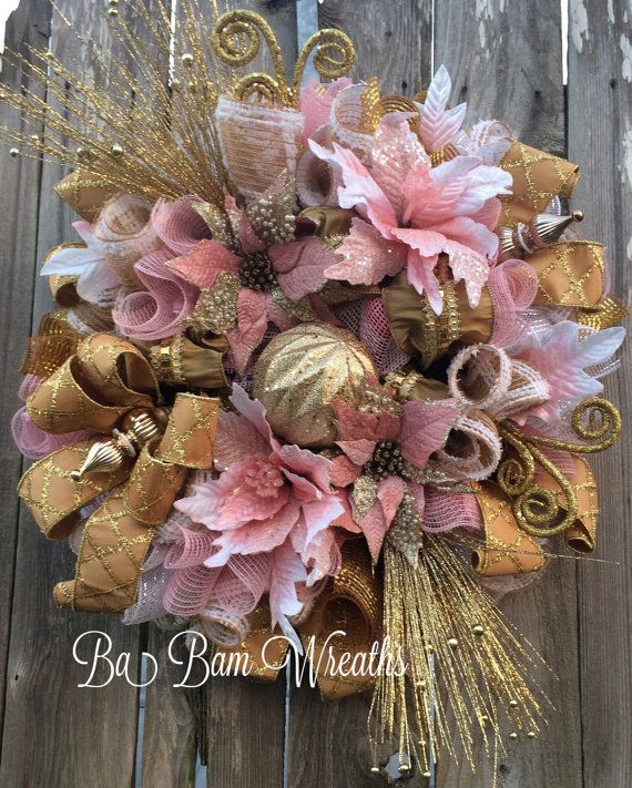 Pink Christmas Golden Christmas Victorian by BaBamWreaths on Etsy