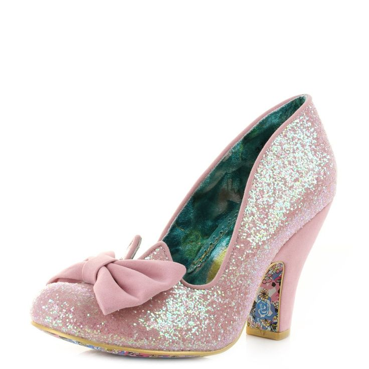 Womens Irregular Choice Nick of Time Pink High Heel Court Shoes.  PINK! BOWS! GLITTER!! Yeeesssss!