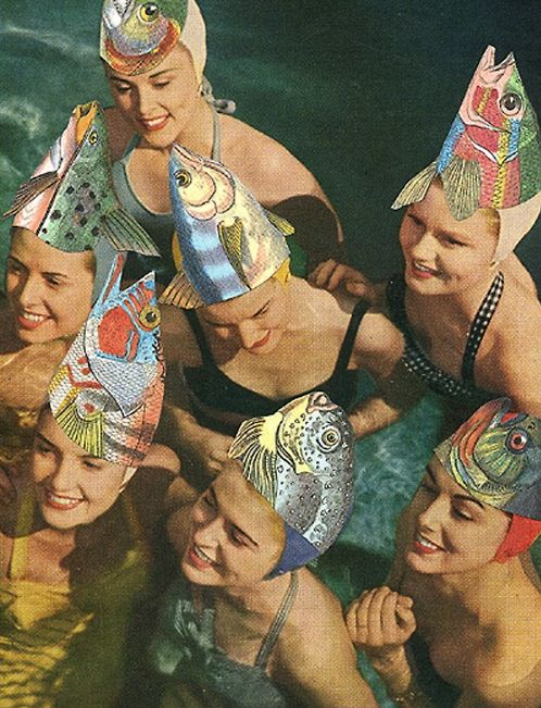 .: At The Beaches, Parties Hats, Swim Cap, Fish Hats, Fishhead, Pools Parties, Bath Beautiful, Vintage Swim, Fish Head
