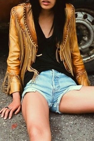 caramel fringe leather + cut-offs. the summer leather jacket