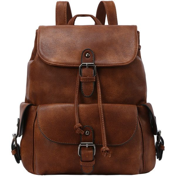 SheIn(sheinside) Buckled Flap Drawstring Backpack - Brown ($28) ❤ liked on Polyvore featuring bags, backpacks, brown, day pack backpack, rucksack bag, vintage rucksack, drawstring backpack and pu backpack