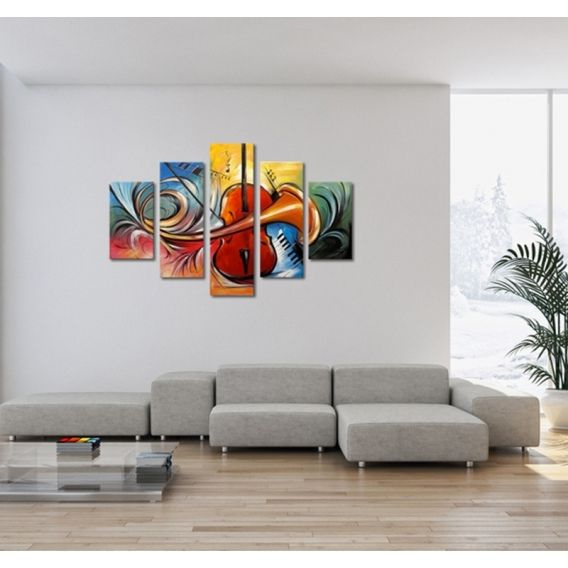 Toile peinture abstraite et moderne pour célébrer la musique entièrement peint à la main par
