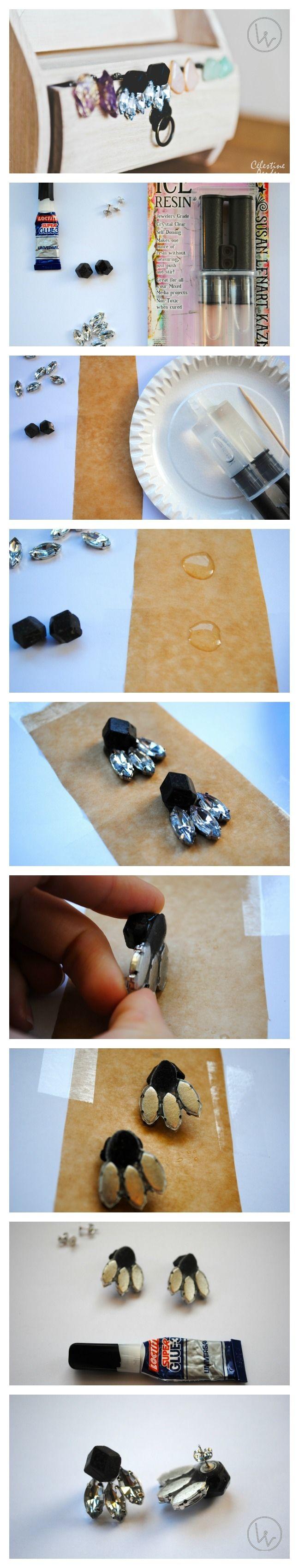 DIY Gemstone Earrings - Louvintage - more: http://louvintage.weebly.com/4/post/2014/02/diy-gemstone-earrings-part-ii.html