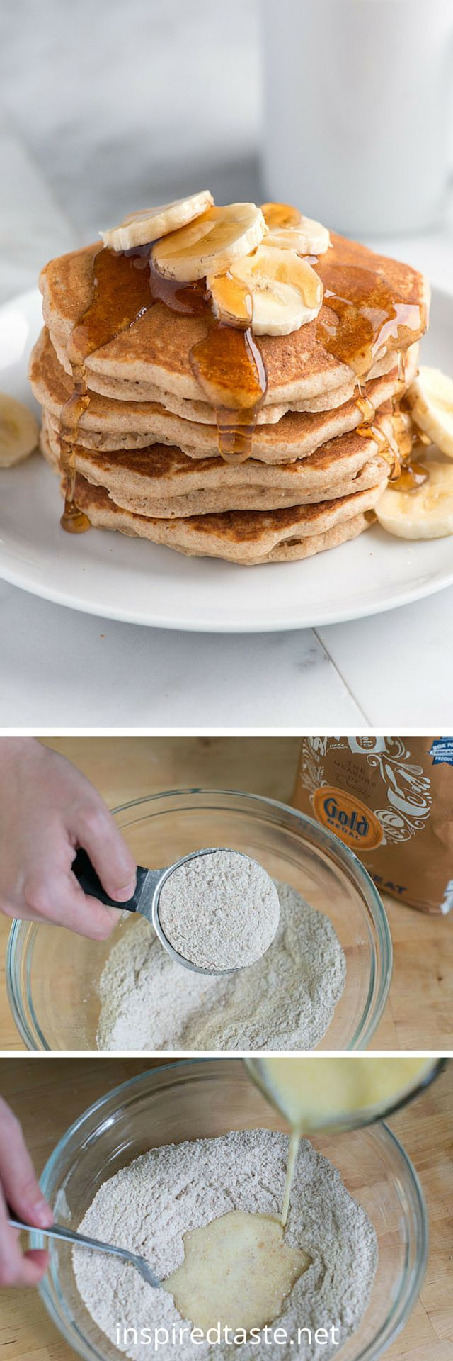 These whole wheat pancakes are light, fluffy and delicious! See the full recipe and video on inspiredtaste.net