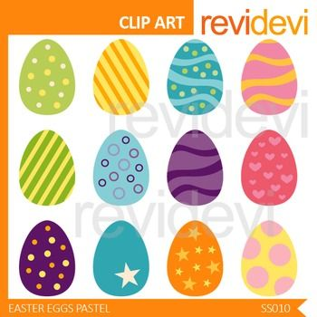 Easter eggs clip art. Cute clipart in pastel colors. Set of 12.  Digital clip art set for teachers and educators. Great resource for any school and classroom projects such as for creating bulletin boards, printable study materials, learning worksheet, classroom decor, craft materials, activities and games, and for more educational and fun projects.