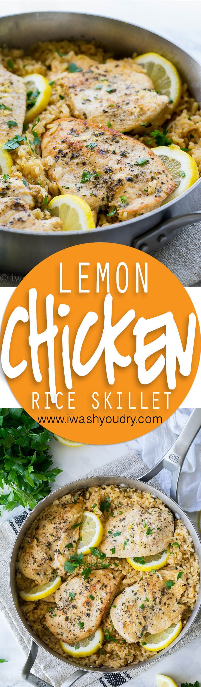 This Lemon Chicken Rice Skillet is all made in ONE PAN and is a super easy and delicious weeknight dinner recipe!