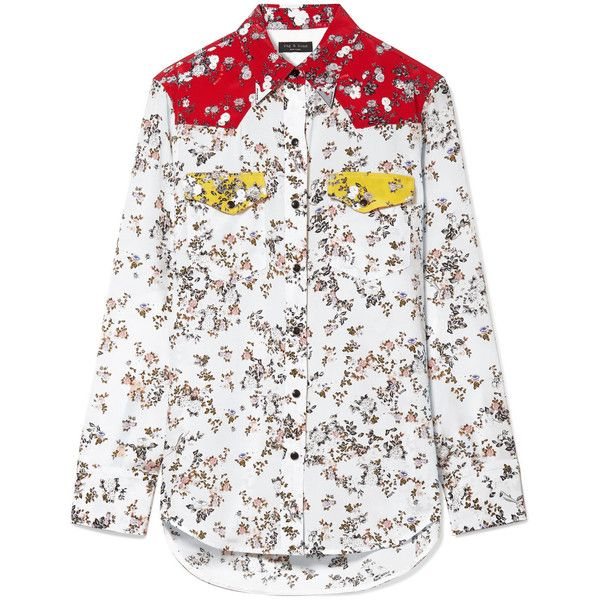 rag & boneJasper Color-block Floral-print Silk-twill Shirt (3 265 SEK) ❤ liked on Polyvore featuring tops, ivory, floral print shirt, floral shirt, white top, color block tops and white shirt