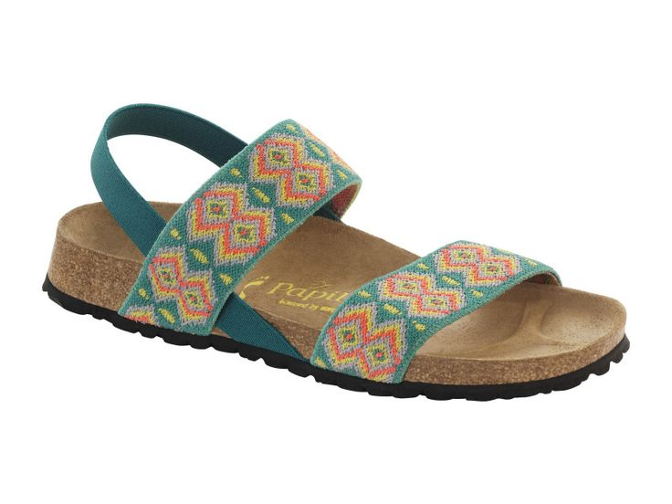 Caterina Stretch Textile in Aztec Candy Blue (Papillio Footbed - Suede Lining) - Birkenstock