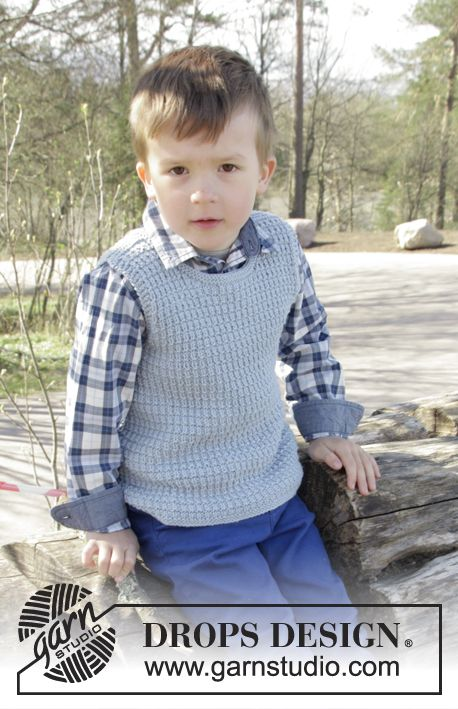 Knitted DROPS vest with textured pattern in Cotton Merino. Size 2 - 12 years Free pattern by DROPS Design.