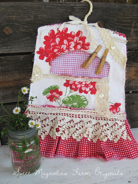 """Clothespin Bag Farm Style Vintage Geranium Print and Antique Laces """"One of a Kind """" by SweetMagnoliasFarm, 36.50"""