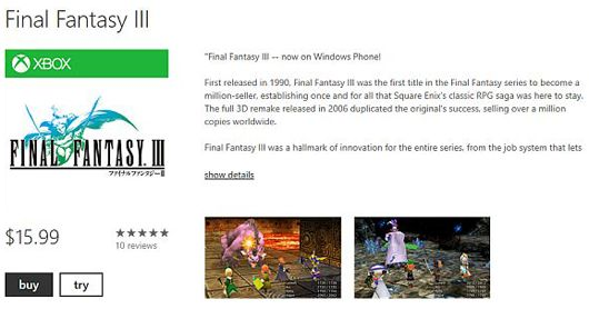 Final Fantasy III di Windows Phone