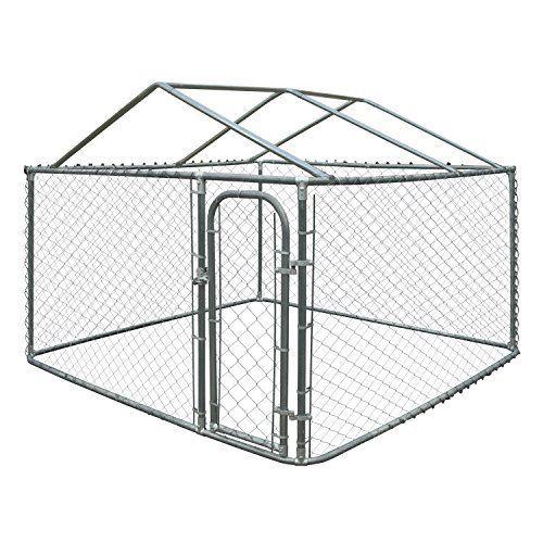ALEKO DK10X10X6RF Dog Kennel 10 x 10 x 6 Feet DIY Chain Link Box Kennel With Roof Frame ** Read review @
