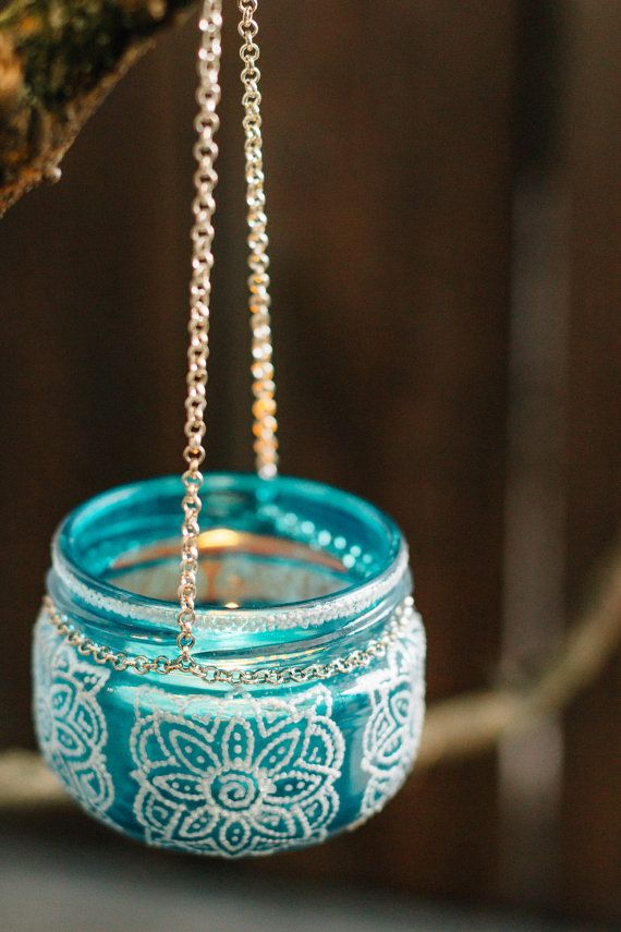Moroccan LANTERN outdoor garden decor, turquoise glass hanging jar with white detailing, jar candleholder, blue painted glass bohemian party