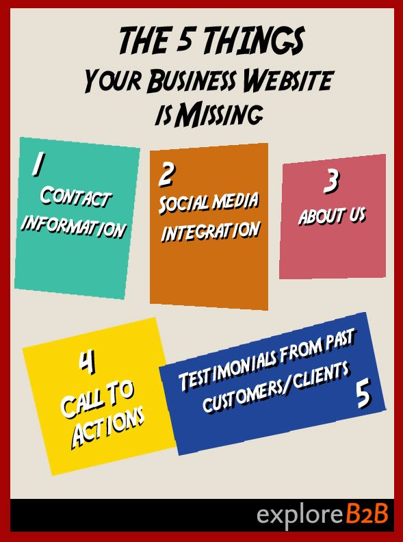 Your #website needs to have the following things to generate leads and communicate with the #public. #smallbusiness #smb found on www.exploreb2b.com