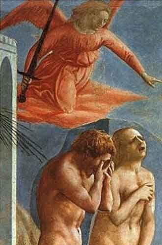 """Masaccio """"Expulsión de Adán y Eva""""  El tratamiento del desnudo en esta obra remite a modelos de la Antigüedad (para Adán, se ha pensado que Masaccio pudo haberse inspirado en estatuas de Marsias o de Laoconte; para Eva, alguna de las venus púdicas romanas). El patetismo de la escena se acentúa con el grito doloroso de Eva y el vientre contraído de Adán, que toma aire."""