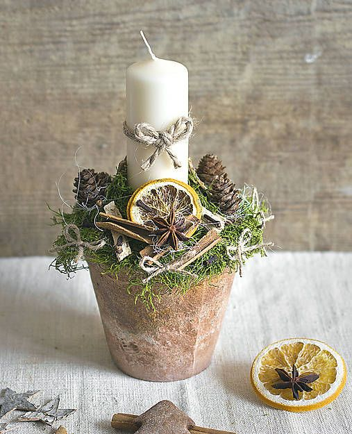 Fragrant candle holder, Christmas spice, moss, orange