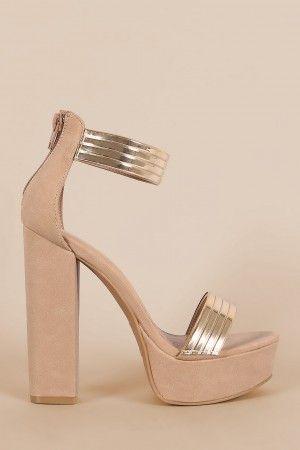 Bamboo Nubuck Metallic Accent Ankle Strap Chunky Platform Heel