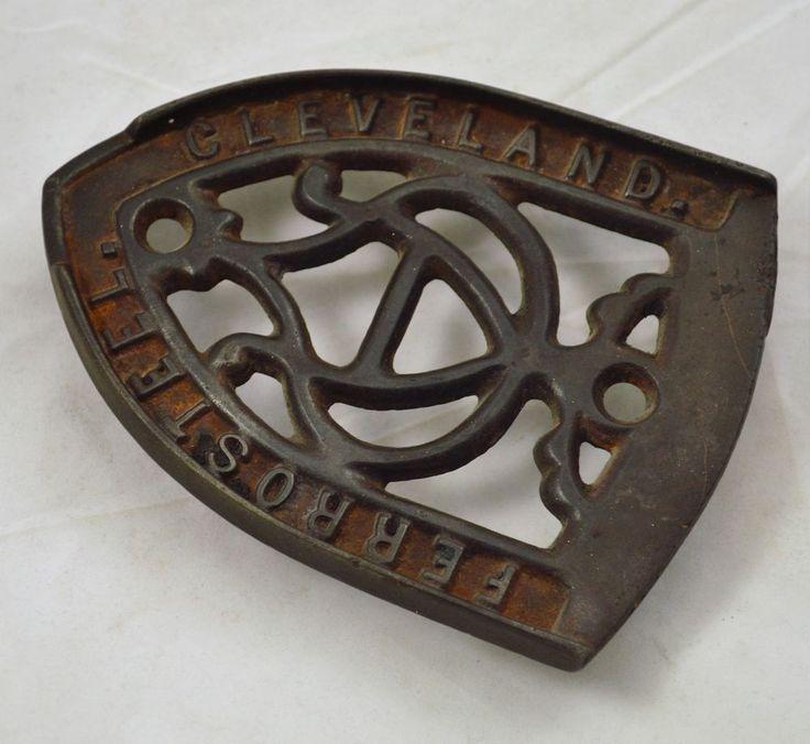 Vintage / Antique Cleveland Ferro Steel Iron Stand Trivet Primitive Decor