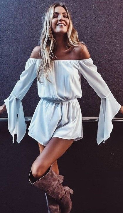 #summer #mishkahboutique #outfits | Bell Sleeve Romper
