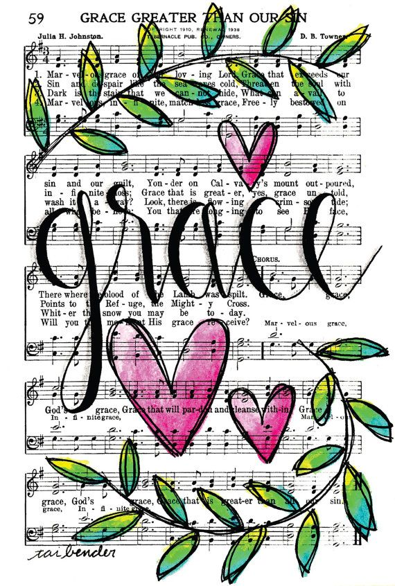 Grace Greater Than All Our Sin 5x7 Print Hymn Fine Art Hymnal Watercolor Ink Painting Praise Sheet Music Hand Lettering Calligraphy Bible Journaling by Growing Meadows Tai Bender
