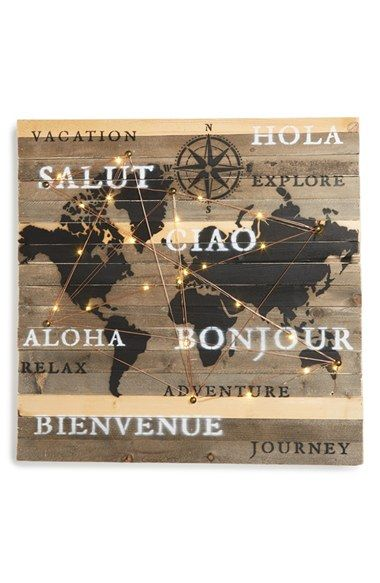 Free shipping and returns on Sweet Bird Global Map Light-Up Wood Wall Art at Nordstrom.com. A reclaimed-wood sign stamped with a global map and encouraging words is strung with copper wire and tiny lights, adding a charming rustic element to your décor.