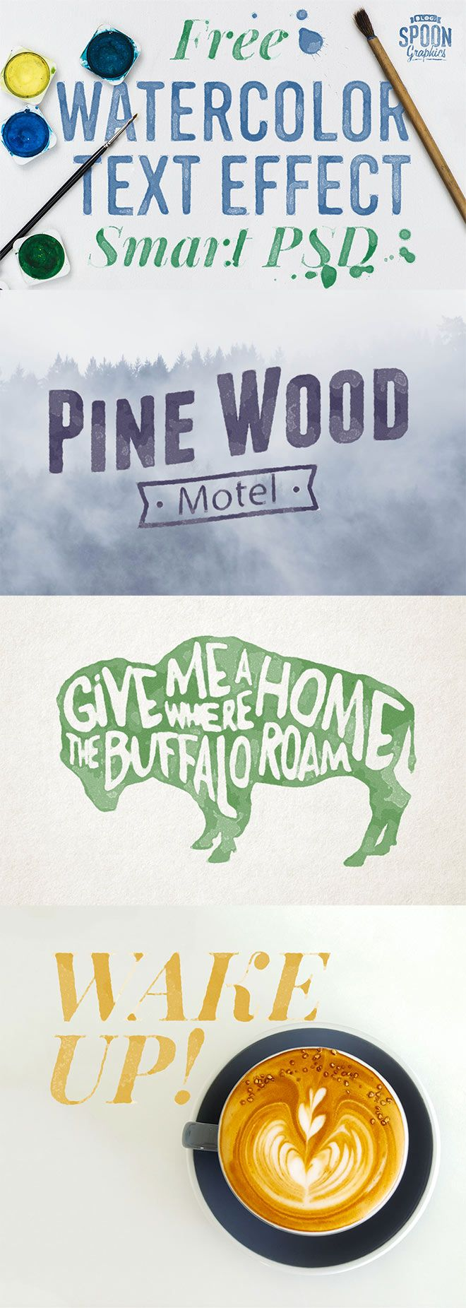 Free Watercolour Text Effect Smart PSD for Adobe Photoshop from Spoongraphics.co.uk