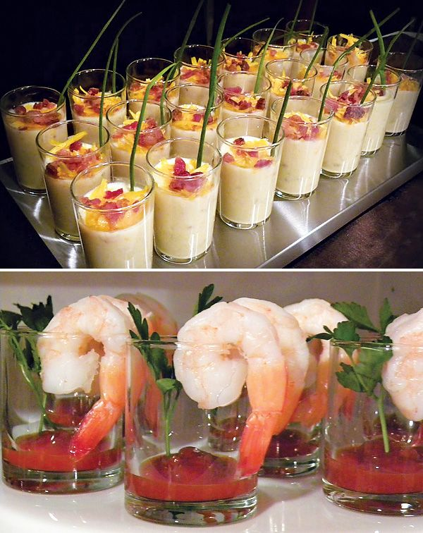 Such neat ideas for serving foods like soups and shrimp cocktail! Could use disposable clear plastic cups too! Great way to feed the 70 plus teachers at our school :)