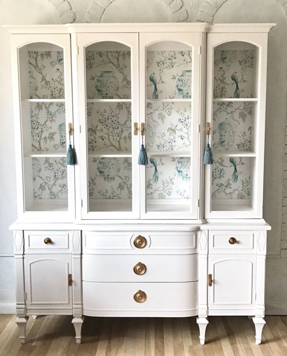White china cabinet by LaVantteHome on Etsy