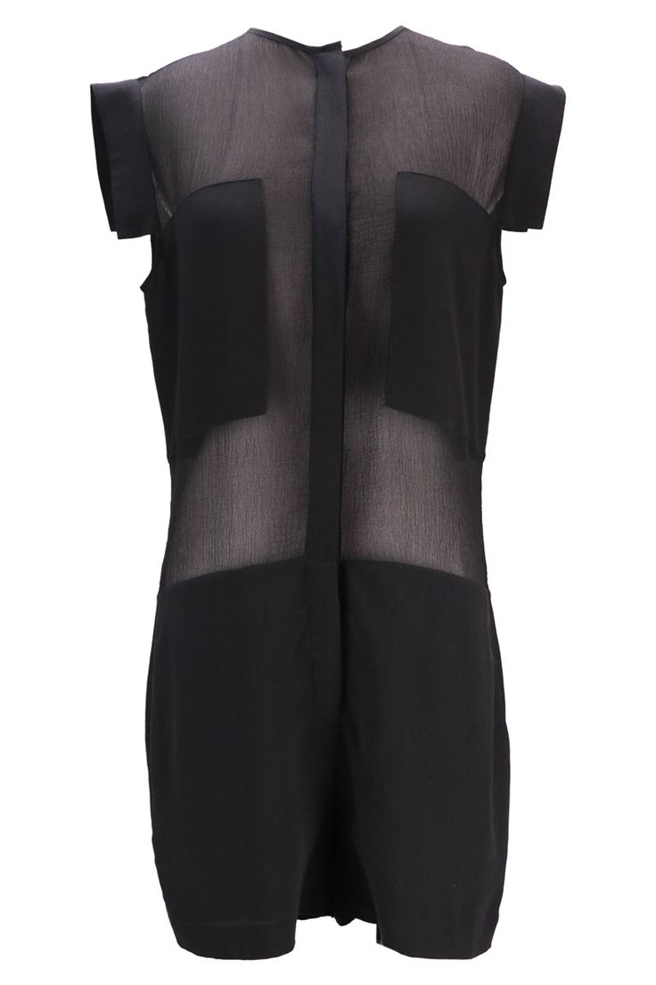 T By Alexander Wang (HK$1,000) - Black sleeveless playsuit with sheer mid-drift - Shop now on HULA