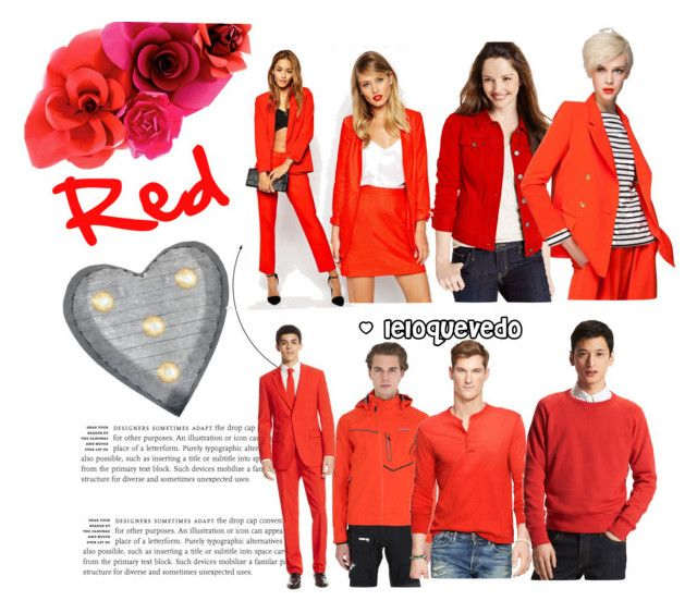 """Red color combinations"" by leloquevedo on Polyvore featuring Style & Co., Front Row Shop, Crystal Art, Musto, Polo Ralph Lauren, ASOS, Uniqlo, OppoSuits, women's clothing and women"