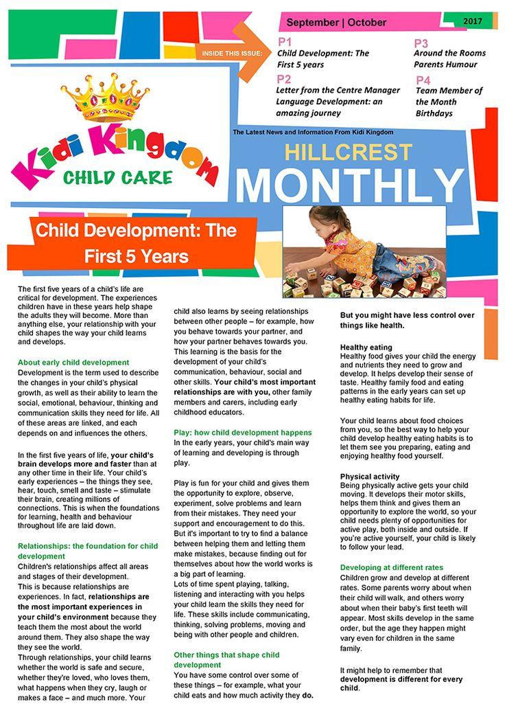 Welcome to the September / October Edition of Kidi Kingdom - Hillcrest News.  #Newsletter #ChildCare #Kindergarten #ChildrenFun #HappyChildren